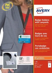Porte-badges format 60 x 90 mm avec cordon textile noir - Pack de 10 Avery 4825