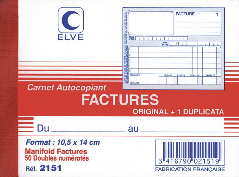 carnet de factures en duplicata format a6 avec colonne tva. Black Bedroom Furniture Sets. Home Design Ideas