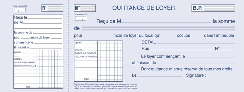 Carde quittances pour locataire format chéquier (talon +