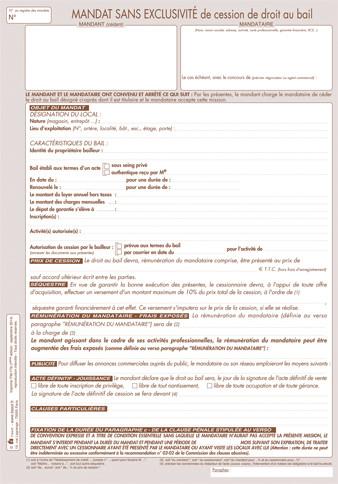 Mandat De Cession De Droit Au Bail Simple Tissot Itm 779 En Vente A