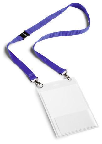 Badges durable grand format avec cordon textile bleu lot for Porte badge 60 x 90