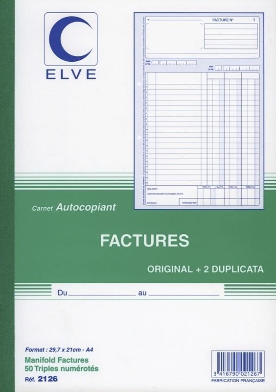 carnet de factures en triplicata format a4 avec colonne. Black Bedroom Furniture Sets. Home Design Ideas