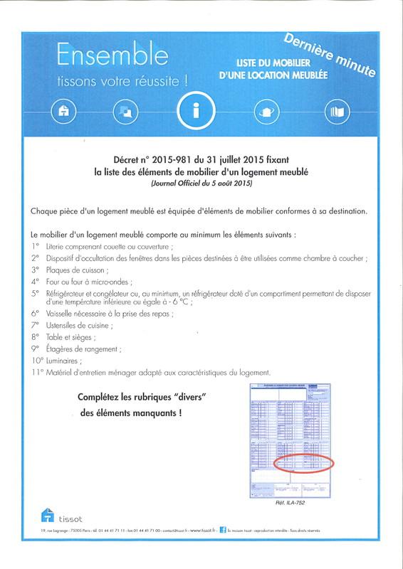 Inventaire Du Mobilier Pour Location Meuble Disponible  Lyon