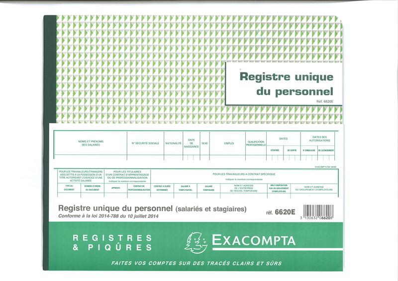 registre unique du personnel et des stagiaires marque exacompta en stock lyon papeterie gouchon. Black Bedroom Furniture Sets. Home Design Ideas