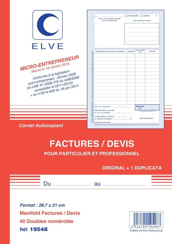 carnet de facture de marque elve pour auto entrepreneur en stock lyon papeterie gouchon. Black Bedroom Furniture Sets. Home Design Ideas