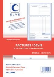 carnet de facture de marque elve pour auto entrepreneur en. Black Bedroom Furniture Sets. Home Design Ideas