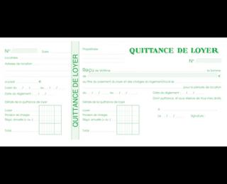 Carde quittances format chéquier (talon + quittance) pour