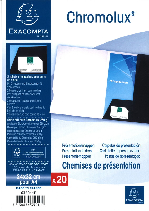 Pack 20 Chemises De Presentation Chromolux