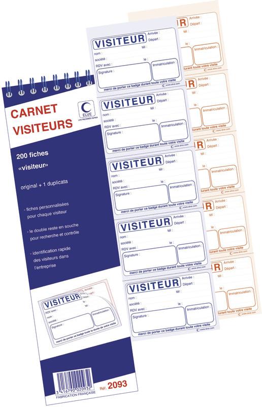 Carnet De 200 Fiches Bagdes Autocopiants Pour Visiteurs