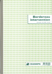 Bordereau d'intervention - Carnet de 50 fiches autocopiantes - 3302E