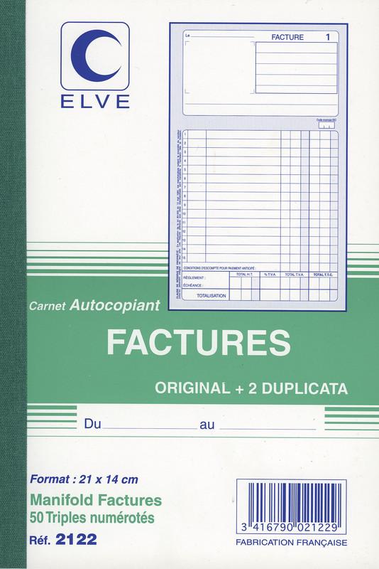 carnet de factures en triplicata format a5 avec colonne. Black Bedroom Furniture Sets. Home Design Ideas